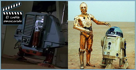 """""""Dewey"""" de Naves misteriosas (1972) - """"C3PO"""" y """"R2D2"""" en La guerra de las galaxias (1977)"""
