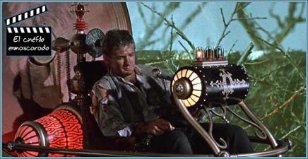 H.G. Wells y su máquina en El tiempo en sus manos (1960)