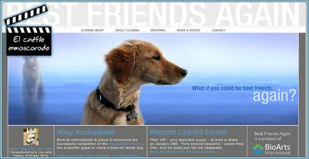 Página web de una empresa de clonación de mascotas