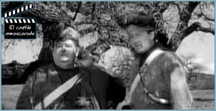 """Oliver Hardy y John Wayne en """"El Luchador de Kentucky"""" (1949)"""