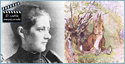 La verdadera Beatrix Potter y uno de sus famosos personajes