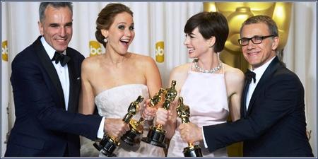 Daniel Day-Lewis, Jennifer Lawrence, Anne Hathaway y Cristoph Waltz