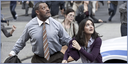 Perry White y Jimmy Olsen (Laurence Fishburne y Rebecca Buller)