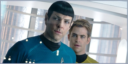 Zachary Quinto y Chris Pine como Spock y el Capitán Kirk