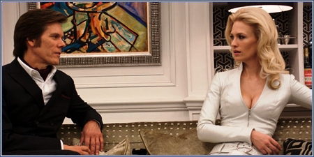 Kevin Bacon y January Jones, como Sebastian Shaw y Emma Frost