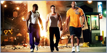 Anthony Mackie, Mark Wahlberg y Dwayne Johnson