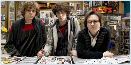 Evan Peters, Aaron Johnson y Clark Duke