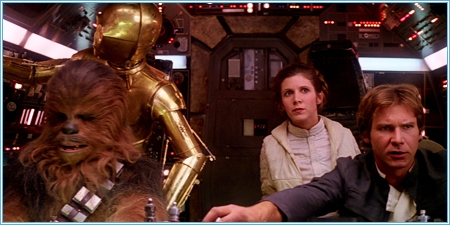 Chewbacca, C3PO, Leia y Han Solo