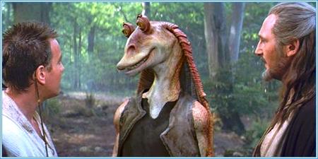Obi-Wan, Jar Jar Binks y Qui-Gon