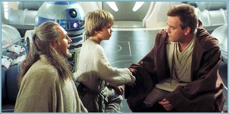 Qui-Gon Jinn, Anakin Skywalker y Obi-Wan Kenobi