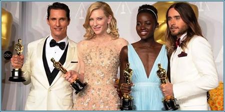 Matthew McConaughey, Cate Blanchett, Lupita Nyong'o y Jared Leto