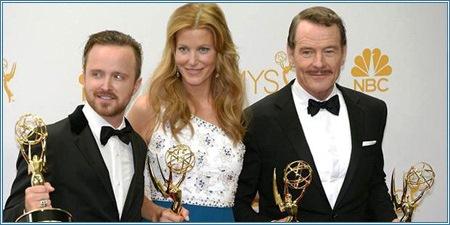 Aaron Paul, Anna Gunn y Bryan Cranston, protagonistas de Breaking Bad