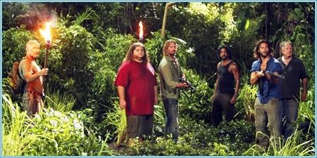 Locke, Hurley, Sawyer, Said, Desmond y Bernard