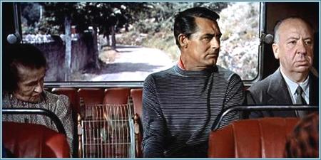 """Alfred Hitchcock junto a Cary Grant en """"Atrapa un ladrón"""" (1955)"""
