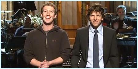 Mark Zuckerberg y Jesse Eisenberg en SNL