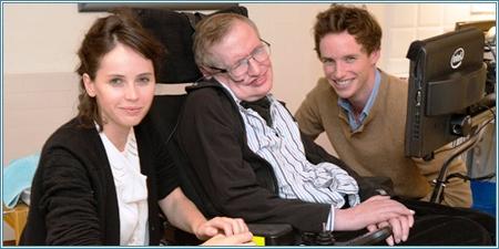 Felicity Jones, Stephen Hawking y Eddie Redmayne
