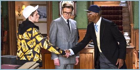 Taron Egerton, Colin Firth y Samuel L. Jackson