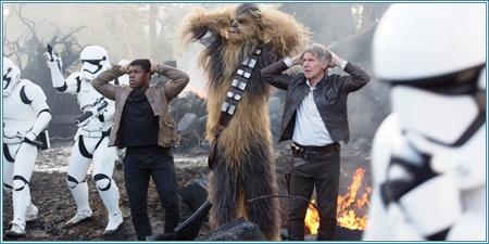 Finn, Chewbacca y Han Solo