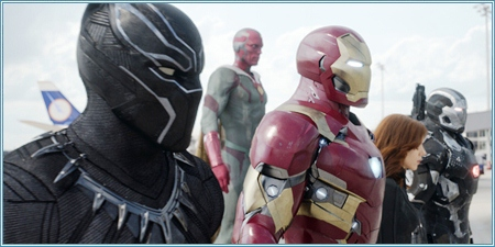 Black Panther, Visión, Iron Man, Viuda Negra y Máquina de Guerra