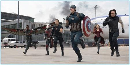 Falcon, Ant-Man, Ojo de Halcon, Capitán América, Bruja Escarlata y Soldado del Invierno