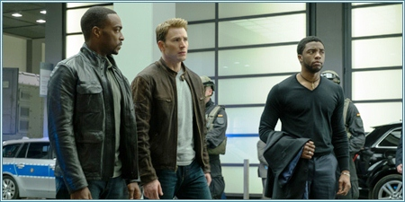 Anthony Mackie, Chris Evans y Chadwick Boseman