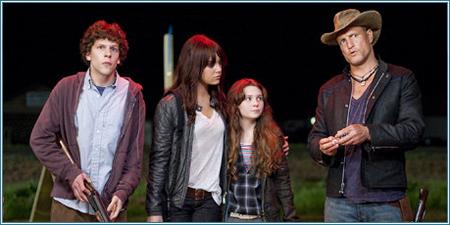 Jesse Eisenberg, Emma Stone, Abigail Breslin y Woody Harrelson