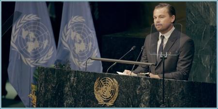Leonardo DiCaprio hablando en la ONU